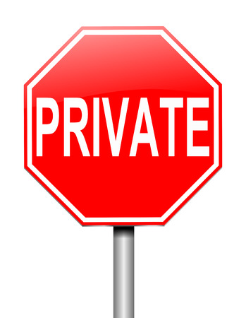 Illustration depicting a sign with a private concept. Stock Illustration - 25325101