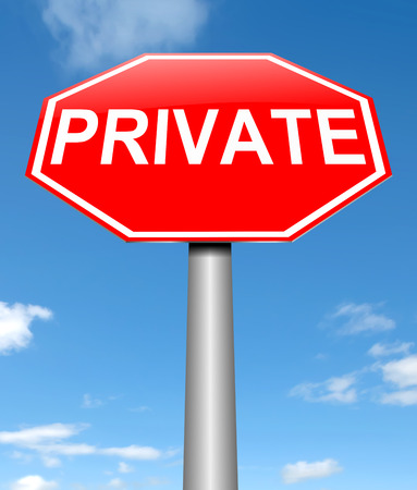 Illustration depicting a sign with a private concept. Stok Fotoğraf