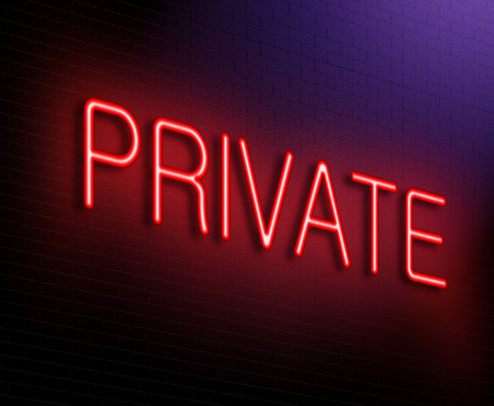secluded: Illustration depicting an illuminated neon sign with a private concept.