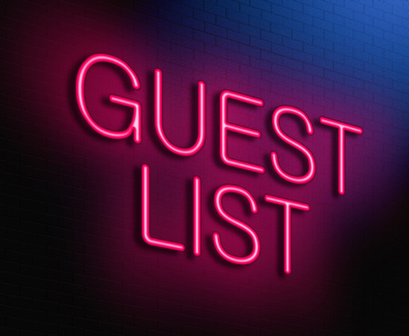 Illustration depicting an illuminated neon sign with a guest list concept. Stock Photo