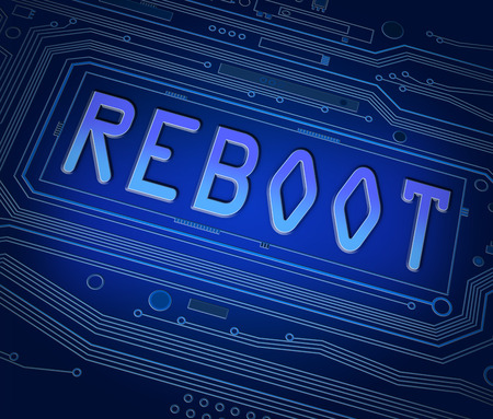 booting: Abstract style illustration depicting printed circuit board components with a reboot concept.