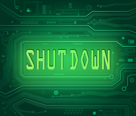 shut down: Abstract style illustration depicting printed circuit board components with a shut down concept. Stock Photo