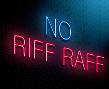 riff: Illustration depicting an illuminated neon sign with a no riff raff concept.