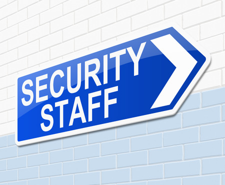 security staff: Illustration depicting a sign with a security staff concept.