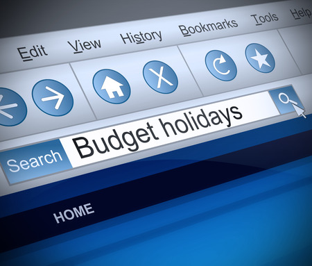 low cost: Illustration depicting a screen shot of a budget holidays internet search.