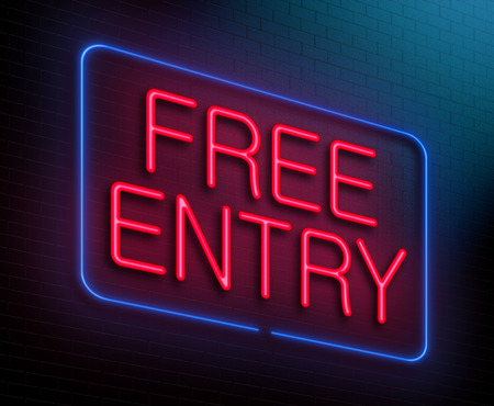 fee: Illustration depicting an illuminated neon sign with a free entry concept.