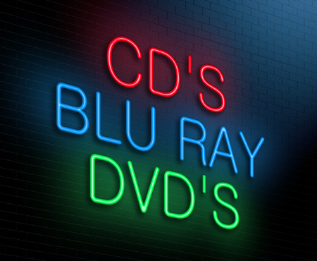 blu ray: Illustration depicting an illuminated neon sign with an entertainment concept. Stock Photo
