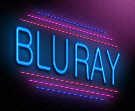 blu ray: Illustration depicting an illuminated neon sign with a blu ray concept.