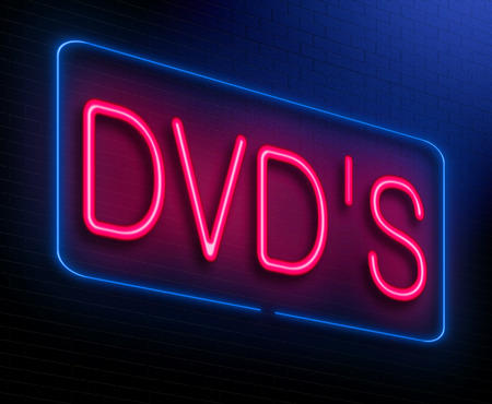 high def: Illustration depicting an illuminated neon sign with a dvd concept.