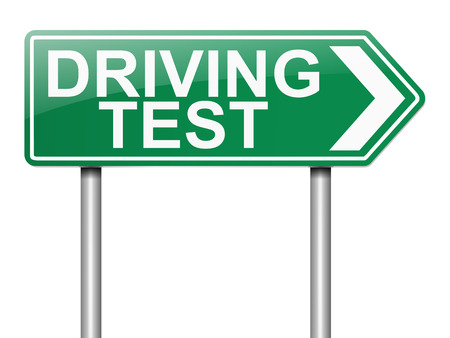 license: Illustration depicting a sign with a driving test concept.