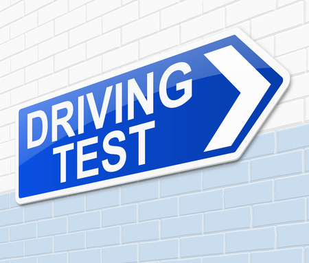 pass test: Illustration depicting a sign with a driving test concept.