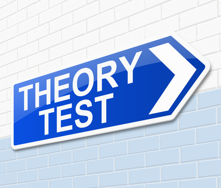 theory: Illustration depicting a sign with a Theory test concept.
