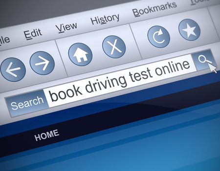 license: Illustration depicting a screen shot of a driving test booking internet search. Stock Photo