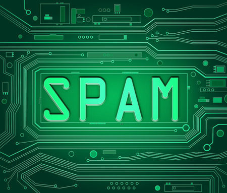 unsolicited: Abstract style illustration depicting printed circuit board components with a spam concept. Stock Photo