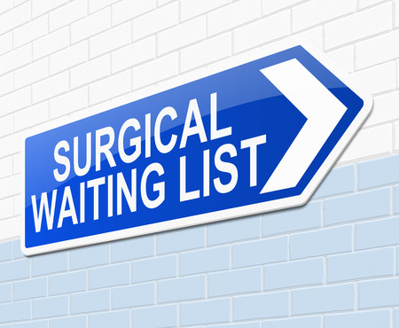 surgical operation: Illustration depicting a sign with a surgical waiting list concept.