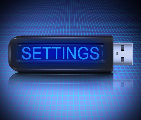 Illustration depicting a usb flash drive with a settings concept. illustration