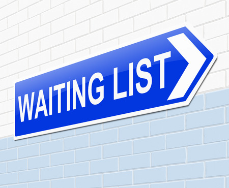 scheduled: Illustration depicting a sign with a waiting list concept. Stock Photo