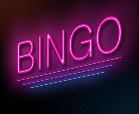 bingo: Ilustración que muestra un letrero de neón iluminado con un concepto de bingo. Foto de archivo