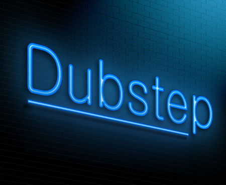 dubstep: Illustration depicting an illuminated neon sign with a dubstep concept. Stock Photo