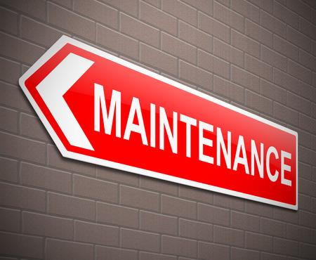 upkeep: Illustration depicting a sign with a maintenance concept.