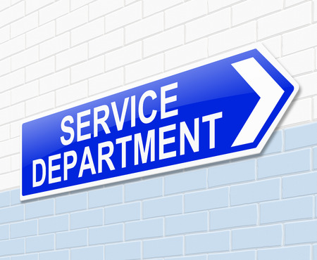 upkeep: Illustration depicting a sign with a service department concept. Stock Photo