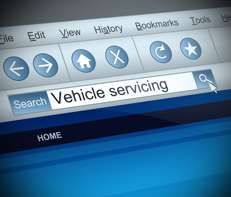 servicing: Illustration depicting a screen shot of a vehicle servicing internet search.