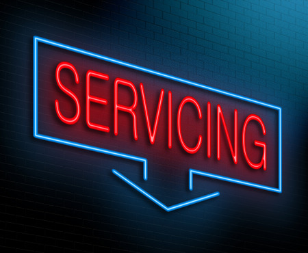 servicing: Illustration depicting an illuminated neon sign with a servicing concept.