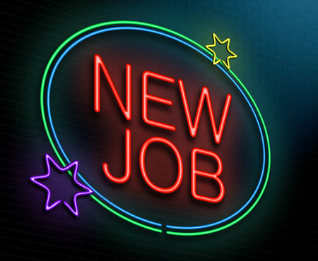 business roles: Illustration depicting an illuminated neon sign with a new job concept.
