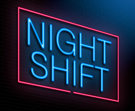 Illustration depicting an illuminated neon sign with a night shift concept. Stock Photo