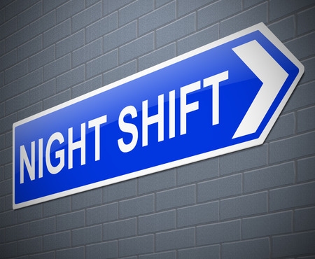 Illustration depicting a sign with a night shift concept.