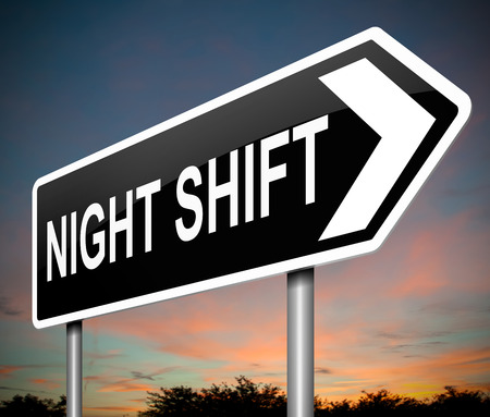 night: Illustration depicting a sign with a night shift concept.