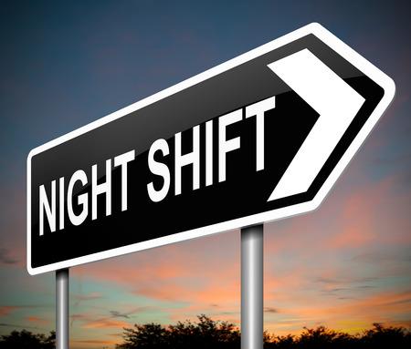 noche: Ilustración que muestra una señal con un concepto de turno de noche.