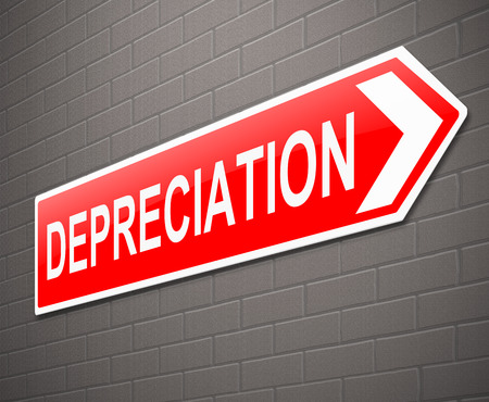 reduced value: Illustration depicting a sign with a depreciation concept. Stock Photo