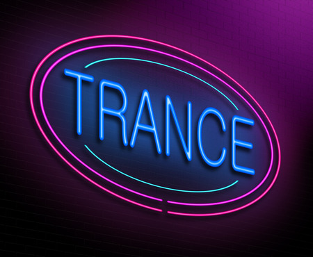 trance: Illustration depicting an illuminated neon sign with a trance concept. Stock Photo