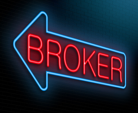 negotiator: Illustration depicting an illuminated neon sign with a broker concept.