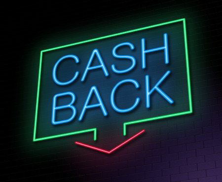 cash back: Illustration depicting an illuminated neon sign with a cashback concept.