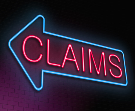 reimbursement: Illustration depicting an illuminated neon sign with a claims concept.