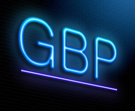 gbp: Illustration depicting an illuminated neon sign with a GBP concept. Stock Photo