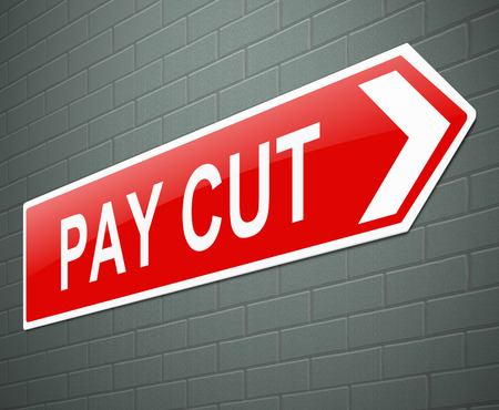 Illustration depicting a sign with a pay cut concept. illustration