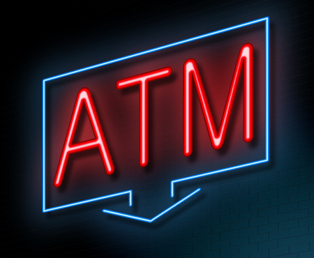 automated teller machine: Illustration depicting an illuminated neon sign with an ATM concept.