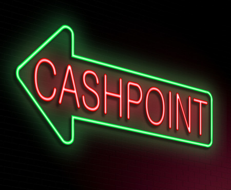 cashpoint: Illustration depicting an illuminated neon sign with a cashpoint concept. Stock Photo