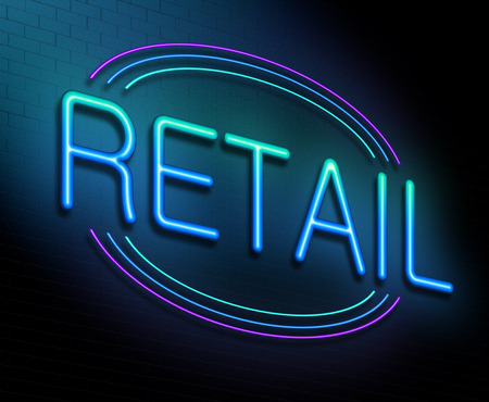 Illustration depicting an illuminated neon sign with a retail concept. Stock Photo