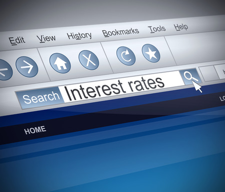 screenshot: Illustration depicting a screenshot of an internet search with an Interest rates concept.