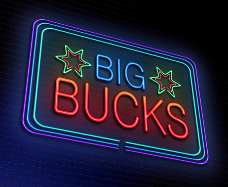 bucks: Illustration depicting an illuminated neon sign with a big bucks concept.