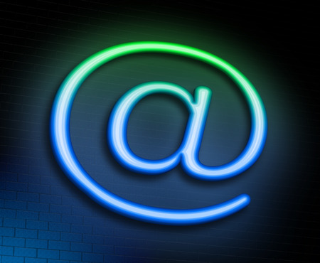 microblogging: Illustration depicting an illuminated neon sign with an @ concept. Stock Photo
