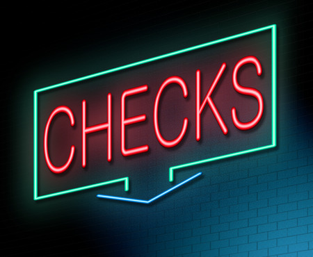 Illustration depicting an illuminated neon sign with a checks concept. Stock Photo