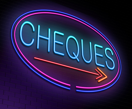 Illustration depicting an illuminated neon sign with a cheques concept. Stock Photo