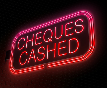 Illustration depicting an illuminated neon sign with a cheques cashed concept. Stock Photo
