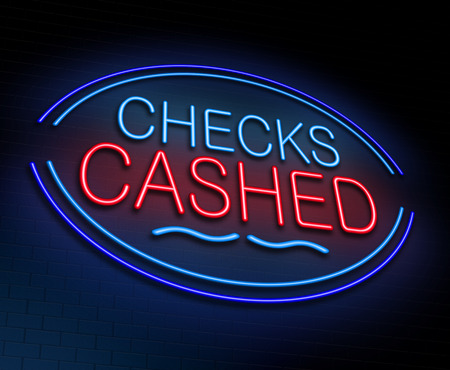 cheques: Illustration depicting an illuminated neon sign with a checks cashed concept.