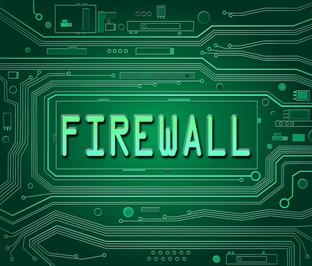 Abstract style illustration depicting printed circuit board components with a Firewall concept.